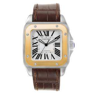 Cartier Silver 18K Yellow Gold And Stainless Steel Santos 100 W20072X7 Men's Wristwatch 38 MM