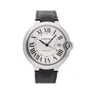 ساعة يد رجالية كارتييه بالون بلو W69016Z4 ستانلس ستيل فضية 42 مم