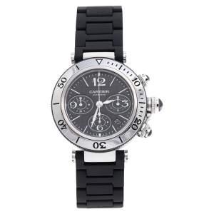 ساعة يد رجالية كارتييه باشا سيتيمر 2995 مطاط ستانلس ستيل سوداء 42 مم