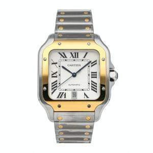 ساعة يد رجالية كارتييه سانتوس W2SA0009 ستانلس ستيل وذهب أصفر عيار 18 فضية 40مم