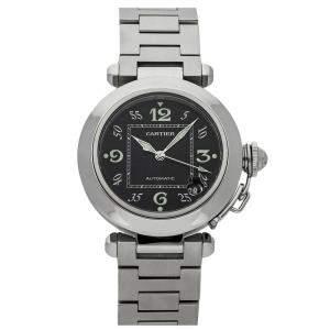 Cartier Black Stainless Steel Pasha C W31043M7 Men's Wristwatch 35 MM