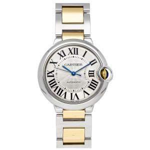 Cartier Silver 18K Yellow Gold And Stainless Steel Ballon Bleu W6920047 Men's Wristwatch 36 MM