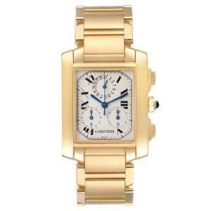 Cartier Silver 18K Yellow Gold Tank Francaise Chronograph Quartz W50005R2 Men's Wristwatch 36 x 28 MM