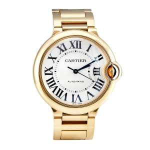 Cartier Silver Guilloche White 18K Yellow Gold Ballon Bleu WGBB0046 Unisex Wristwatch 36 mm