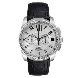 Cartier Silver Stainless Steel Calibre De Cartier Chronograph W7100046 Men's Wristwatch 42 MM