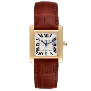 Cartier Silver 18k Yellow Gold Tank Francaise W5000156 Men's Wristwatch 28 x 32 MM