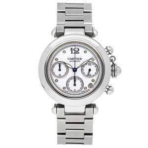 Cartier White Stainless Steel Pasha C Chronograph W31039M7 Men's Wristwatch 36 MM