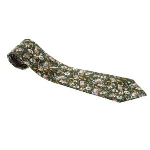 Céline Green Printed Traditional Silk Tie