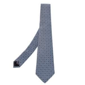 Celine Blue Geometric Logo Jacquard Silk Tie
