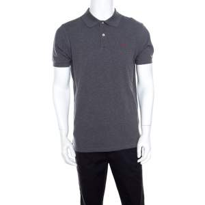 CH Carolina Herrera Grey Honeycomb Knit Logo Embroidered Polo T-Shirt M