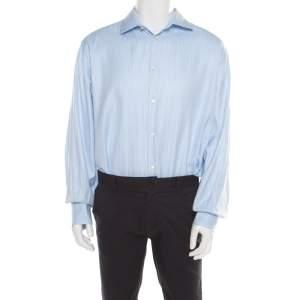 CH Carolina Herrera Blue Striped Cotton Jacquard Long Sleeve Button Front Shirt 3XL