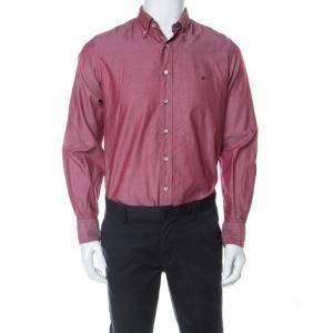 CH Carolina Herrera Burgundy Cotton Button Down Oxford Shirt M