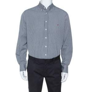 CH Carolina Herrera Monochrome Checked Cotton Button Down Collar Shirt XL