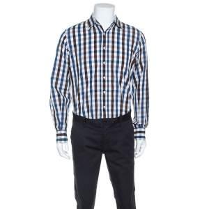 CH Carolina Herrera Gingham Check Cotton Button Down Shirt L