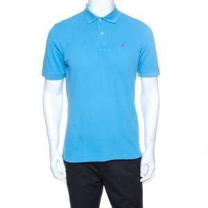 CH Carolina Herrera Blue Pique Cotton Polo T Shirt M