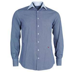 CH Carolina Herrera Men's Blue and White Striped Shirt S