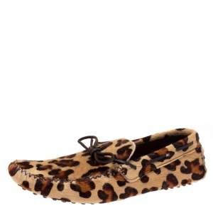 Carolina Herrera Animal Print Calf Hair Bow Slip On Loafers Size 42.5