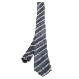 Chanel Vintage Navy Blue Geometric Print Silk Jacquard Tie