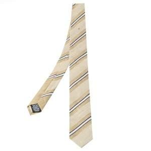 ربطة عنق شانيل رفيعة قطن و كتان مخطط مائل بيج