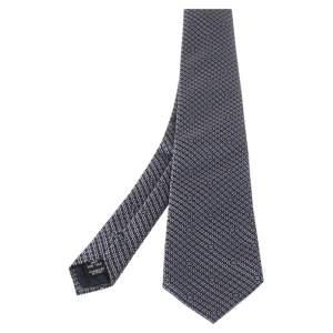 Chanel Navy Blue Geometric Jacquard Silk Tie