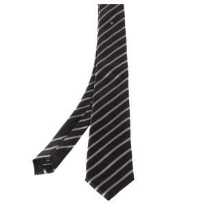 Chanel Black Diagonal Striped Silk Skinny Tie