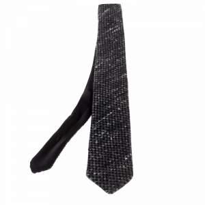 ربطة عنق شانيل حرير سكيني تويد أسود بوجهين