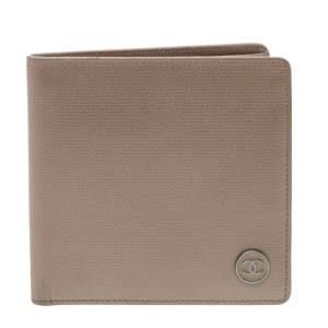 Chanel Metallic Beige Leather Bifold Wallet