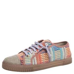 Chanel Multicolor Tweed Fabric Cap Toe Low Top Sneakers Size 42