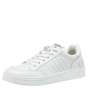 Chanel White Leather Lace Up Sneakers Size 42