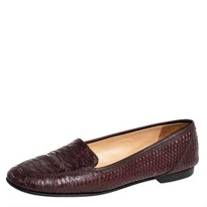 Chanel Brown Python CC Slip on Loafers Size 41