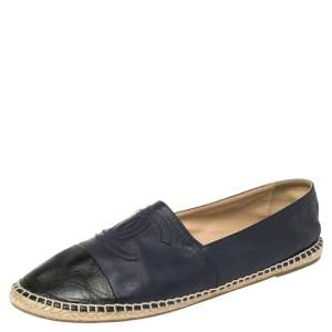 Chanel Blue/Black Leather CC Logo Espadrilles Size 44