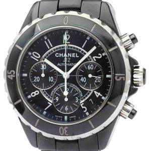 Chanel Black Ceramic J12 Chronograph Automatic H0940 Men's Wristwatch 41 MM