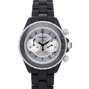 Chanel Silver Black Ceramic J12 Superleggera Chronograph H2039 Men's Wristwatch 41 MM
