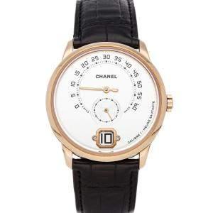 Chanel Silver 18K Yellow Gold Monsieur H4800 Men's Wristwatch 40 MM
