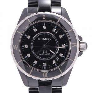 Chanel Black Black Diamonds Ceramic And Stainless Steel J12 H1626 Men's Wristwatch 38 MM