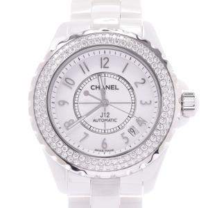 Chanel White Diamonds Ceramic And Stainless Steel J12 H0969 Men's Wristwatch 38 MM