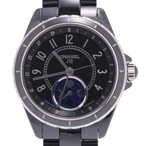 Chanel Black Ceramic And Stainless Steel J12 Fars Du Lune H3406 Automatic Men's Wristwatch 38 MM