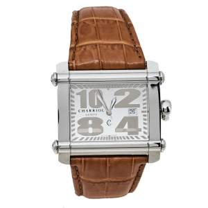 Charriol Silver Stainless Steel Leather CCHXL Men's Wristwatch 39 mm