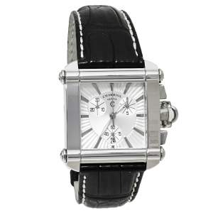 Charriol Silver Stainless Steel Leather Chronograph Actor CCHCXL Men's Wristwatch 35 mm