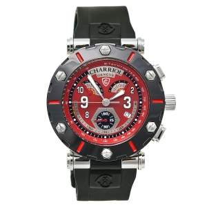 Charriol Red Stainless Steel Rotonde Retrograde RT42CR Men's Wristwatch 42 mm