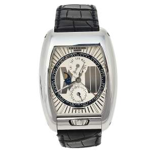 Charriol Silver Stainless Steel Limited Edition N°02/99 Moonphase MD52 Automatic Men's Wristwatch 37 mm