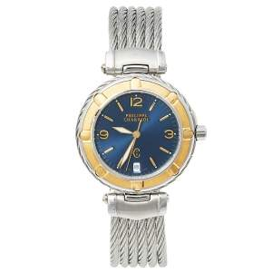 Philippe Charriol Blue 18K Yellow Gold & Stainless Steel 55.97.2379 Men's Wristwatch 33 mm