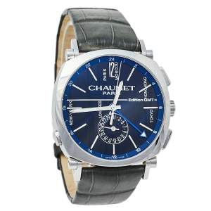 Chaumet Blue Stainless Steel Leather Dandy GMT W11692-32A Men's Wristwatch 40 mm