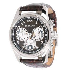 Chopard Black 18K White Gold and Crocodile Leather L.U.C Chrono One 16/1916-1001 Men's Wristwatch 42MM