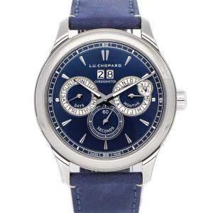 Chopard Blue Stainless Steel L.U.C Perpetual Twin 168561-3003 Men's Wristwatch 43 MM