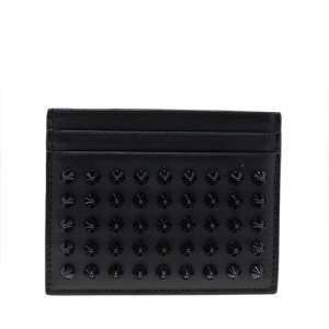 Christian Louboutin Black Leather Kios Spiked Card Holder