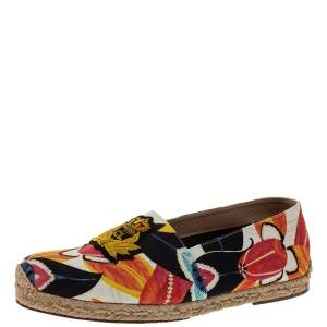 Christian Louboutin Multicolor Canvas Gala Embroidered Crest Espadrille Loafers Size 40