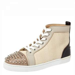Christian Louboutin Multicolor Leather and Tweed Louis Spike High Top Sneakers Size 41