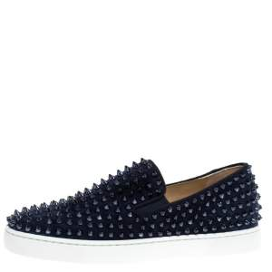Christian Louboutin Navy Suede Roller Boat Spiked Slip On Sneakers Size 41