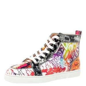 Christian Louboutin Multicolor Graffiti Sequin And Leather Rantus Orlato High Top Sneakers Size 43